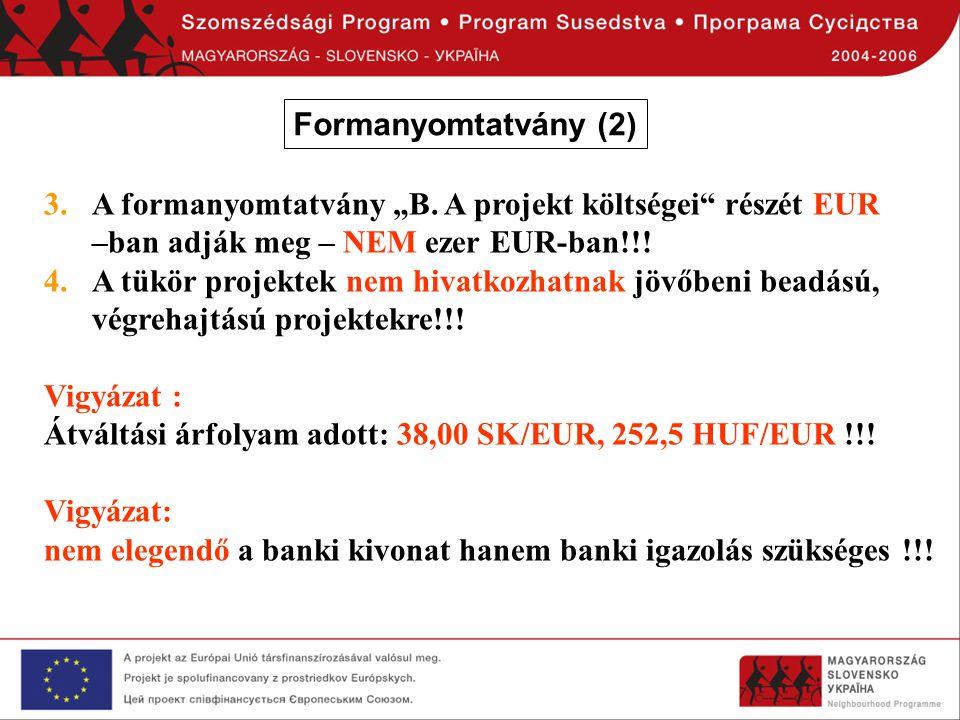 """3.A formanyomtatvány """"B. A projekt költségei"""" részét EUR –ban adják meg – NEM ezer EUR-ban!!! 4.A tükör projektek nem hivatkozhatnak jövőbeni beadású,"""