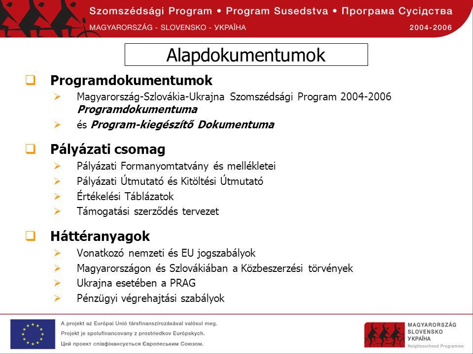 Alapdokumentumok  Programdokumentumok  Magyarország-Szlovákia-Ukrajna Szomszédsági Program 2004-2006 Programdokumentuma  és Program-kiegészítő Doku