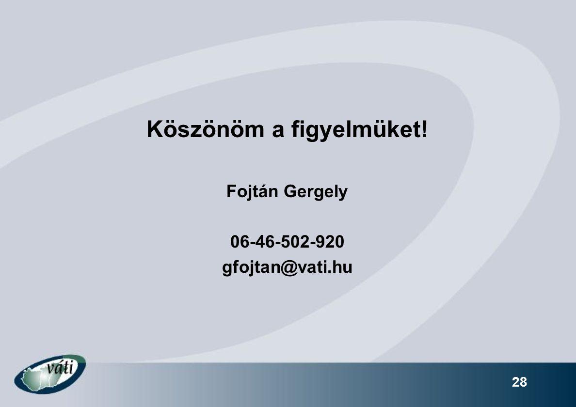 28 Köszönöm a figyelmüket! Fojtán Gergely 06-46-502-920 gfojtan@vati.hu