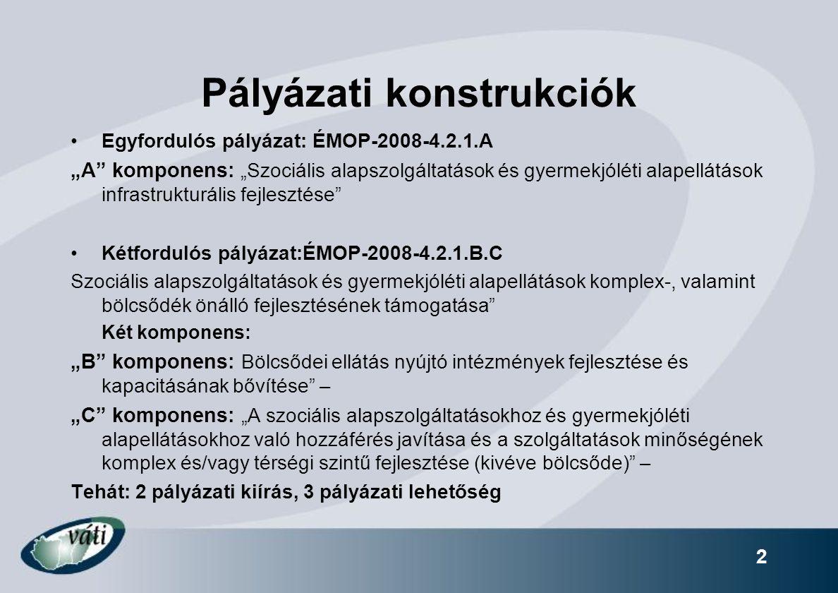"""2 Pályázati konstrukciók Egyfordulós pályázat: ÉMOP-2008-4.2.1.A """"A"""" komponens: """"Szociális alapszolgáltatások és gyermekjóléti alapellátások infrastru"""