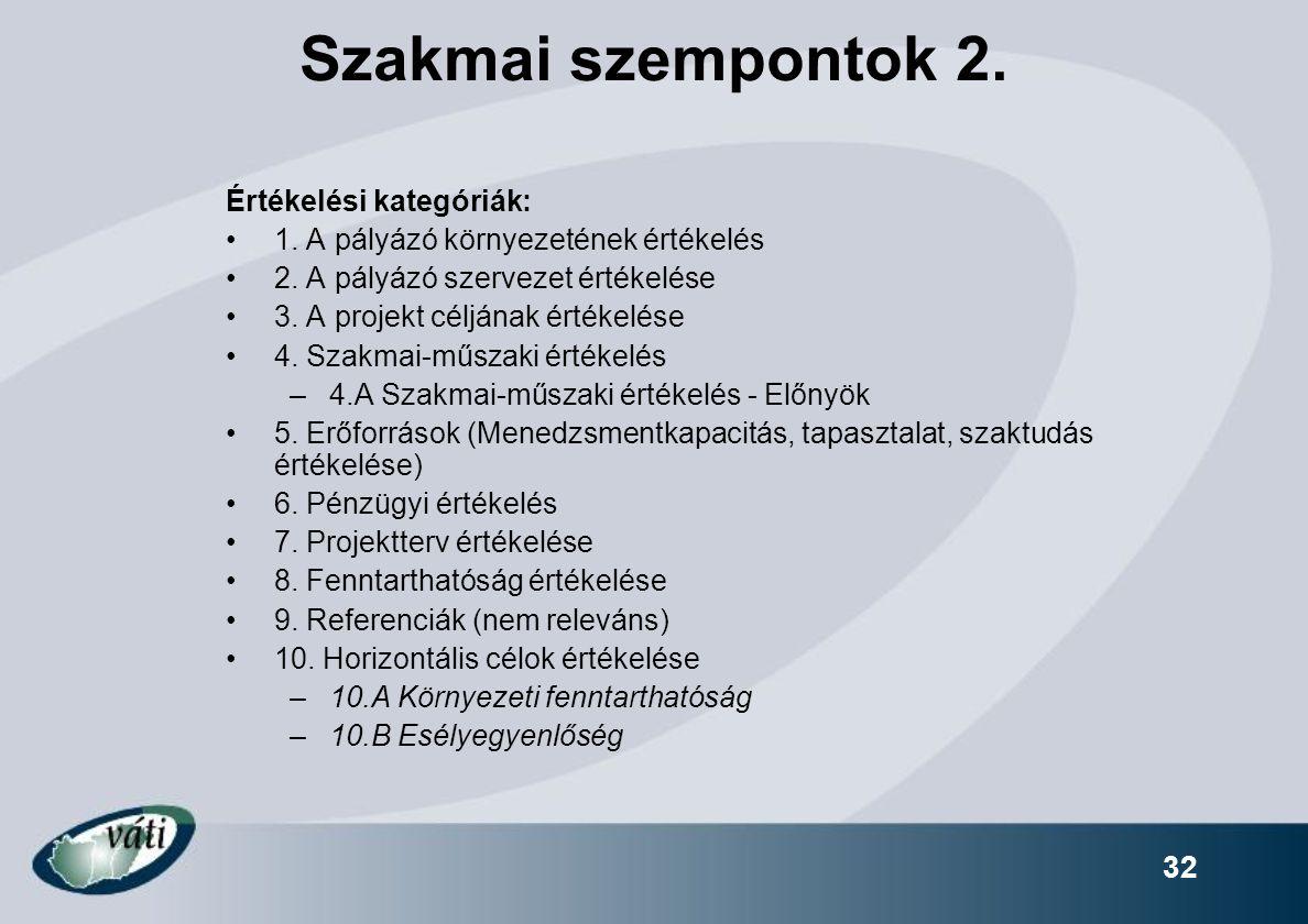 32 Szakmai szempontok 2. Értékelési kategóriák: 1. A pályázó környezetének értékelés 2. A pályázó szervezet értékelése 3. A projekt céljának értékelés