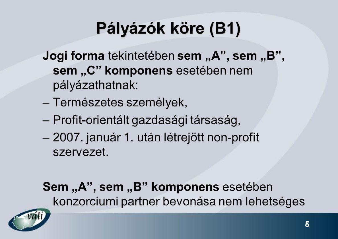 """5 Pályázók köre (B1) Jogi forma tekintetében sem """"A"""", sem """"B"""", sem """"C"""" komponens esetében nem pályázathatnak: –Természetes személyek, –Profit-orientál"""