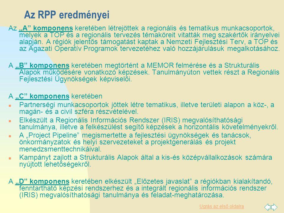 """Ugrás az első oldalra Az RPP eredményei Az """"A komponens keretében létrejöttek a regionális és tematikus munkacsoportok, melyek a TOP és a regionális tervezés témaköreit vitatták meg szakértők irányelvei alapján."""