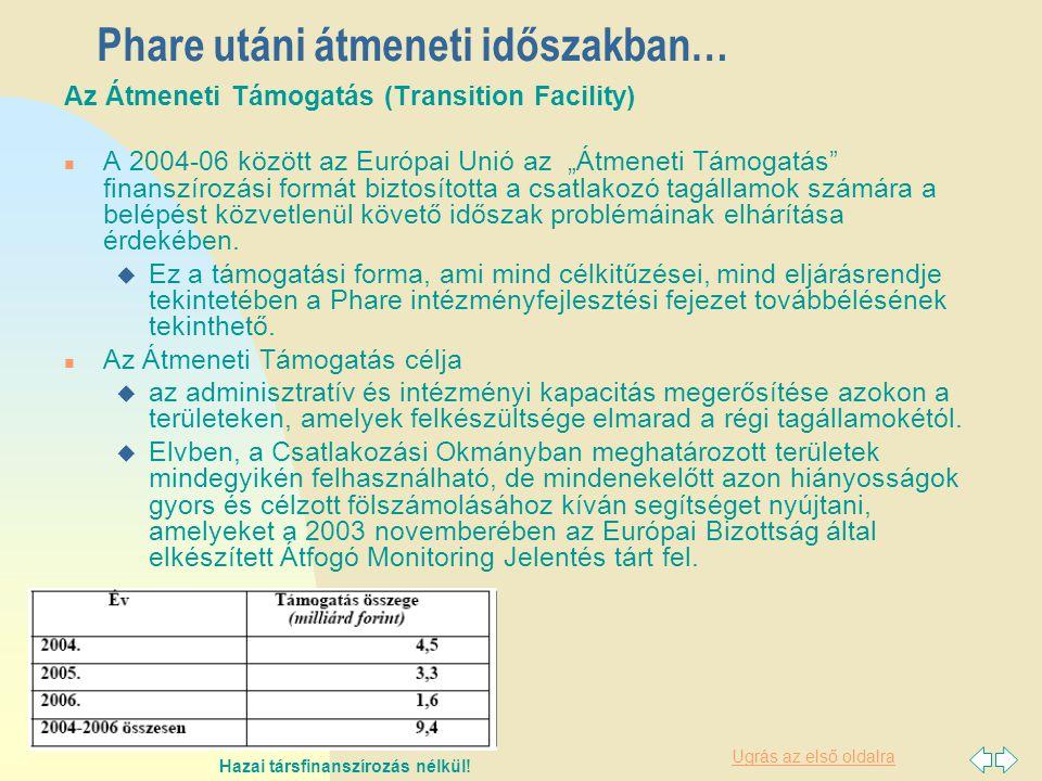 """Ugrás az első oldalra Phare utáni átmeneti időszakban… Az Átmeneti Támogatás (Transition Facility) n A 2004-06 között az Európai Unió az """"Átmeneti Támogatás finanszírozási formát biztosította a csatlakozó tagállamok számára a belépést közvetlenül követő időszak problémáinak elhárítása érdekében."""