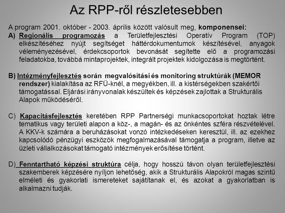 Az RPP-ről részletesebben A program 2001. október - 2003. április között valósult meg, komponensei: A)Regionális programozás a Területfejlesztési Oper