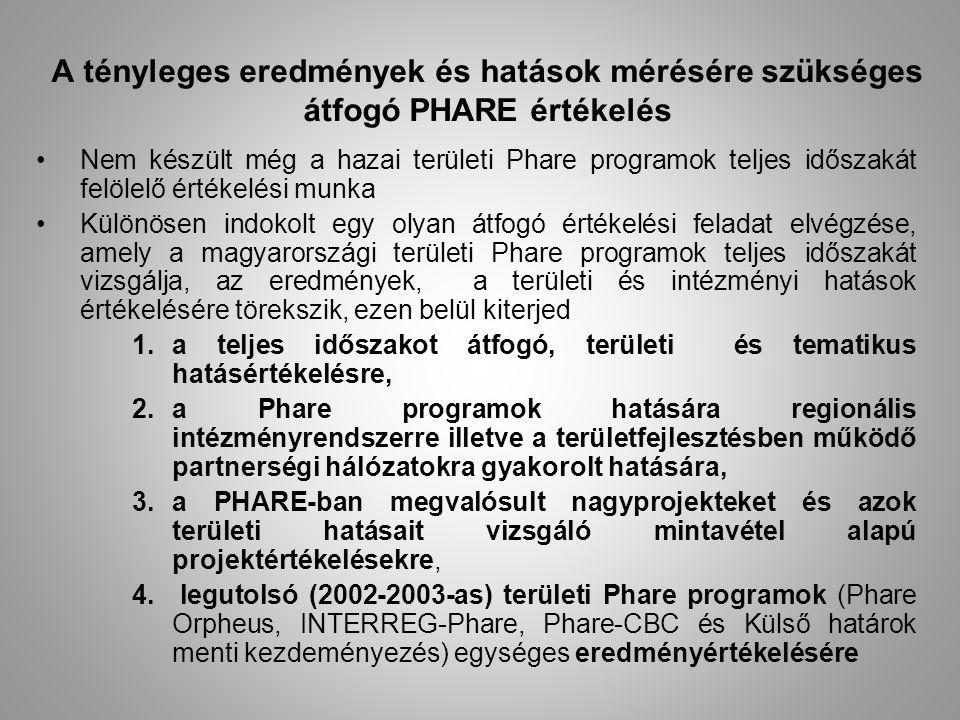 A tényleges eredmények és hatások mérésére szükséges átfogó PHARE értékelés Nem készült még a hazai területi Phare programok teljes időszakát felölelő értékelési munka Különösen indokolt egy olyan átfogó értékelési feladat elvégzése, amely a magyarországi területi Phare programok teljes időszakát vizsgálja, az eredmények, a területi és intézményi hatások értékelésére törekszik, ezen belül kiterjed 1.a teljes időszakot átfogó, területi és tematikus hatásértékelésre, 2.a Phare programok hatására regionális intézményrendszerre illetve a területfejlesztésben működő partnerségi hálózatokra gyakorolt hatására, 3.a PHARE-ban megvalósult nagyprojekteket és azok területi hatásait vizsgáló mintavétel alapú projektértékelésekre, 4.