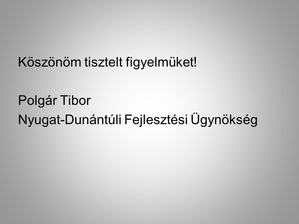 Köszönöm tisztelt figyelmüket! Polgár Tibor Nyugat-Dunántúli Fejlesztési Ügynökség