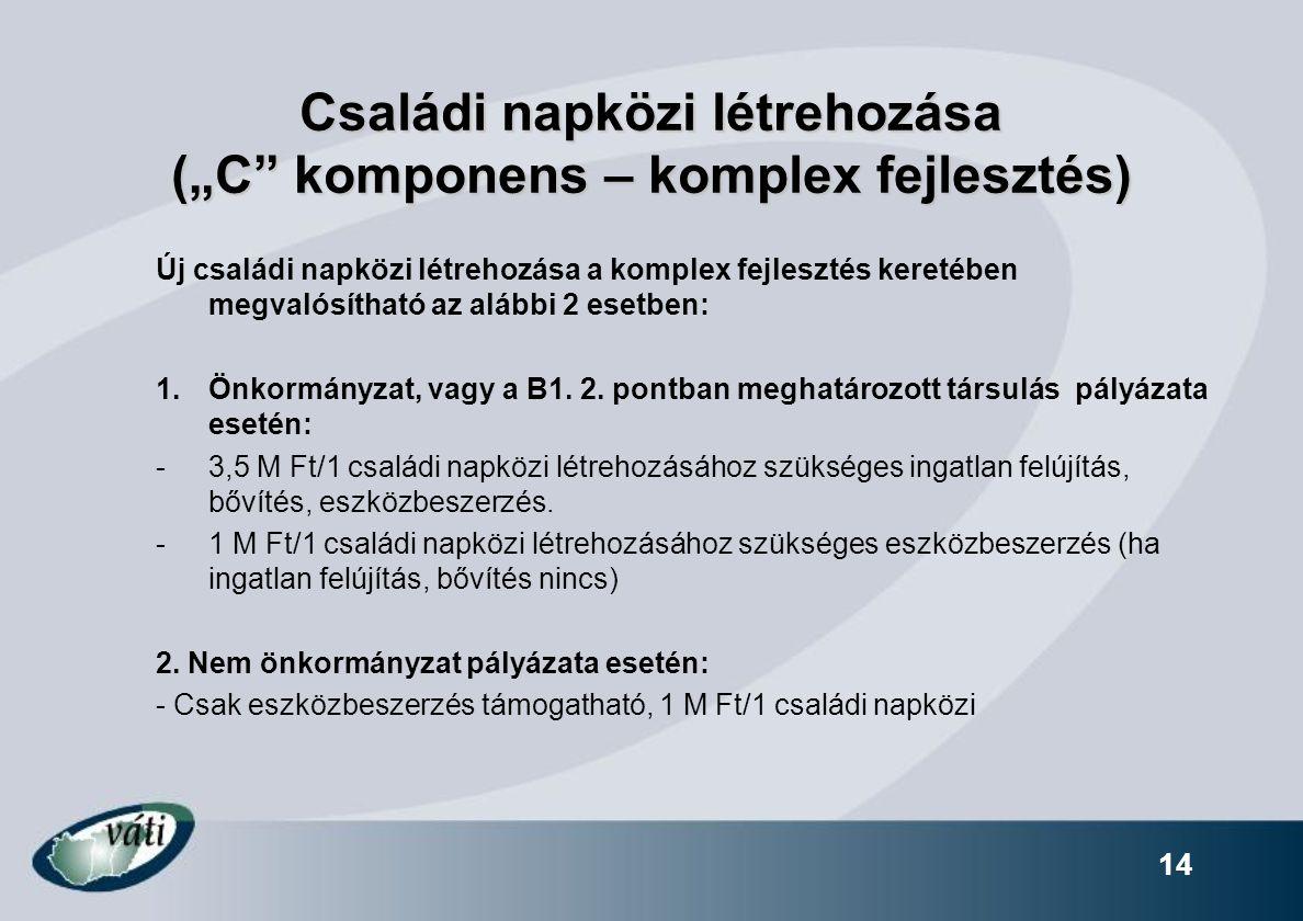 """14 Családi napközi létrehozása (""""C"""" komponens – komplex fejlesztés) Új családi napközi létrehozása a komplex fejlesztés keretében megvalósítható az al"""