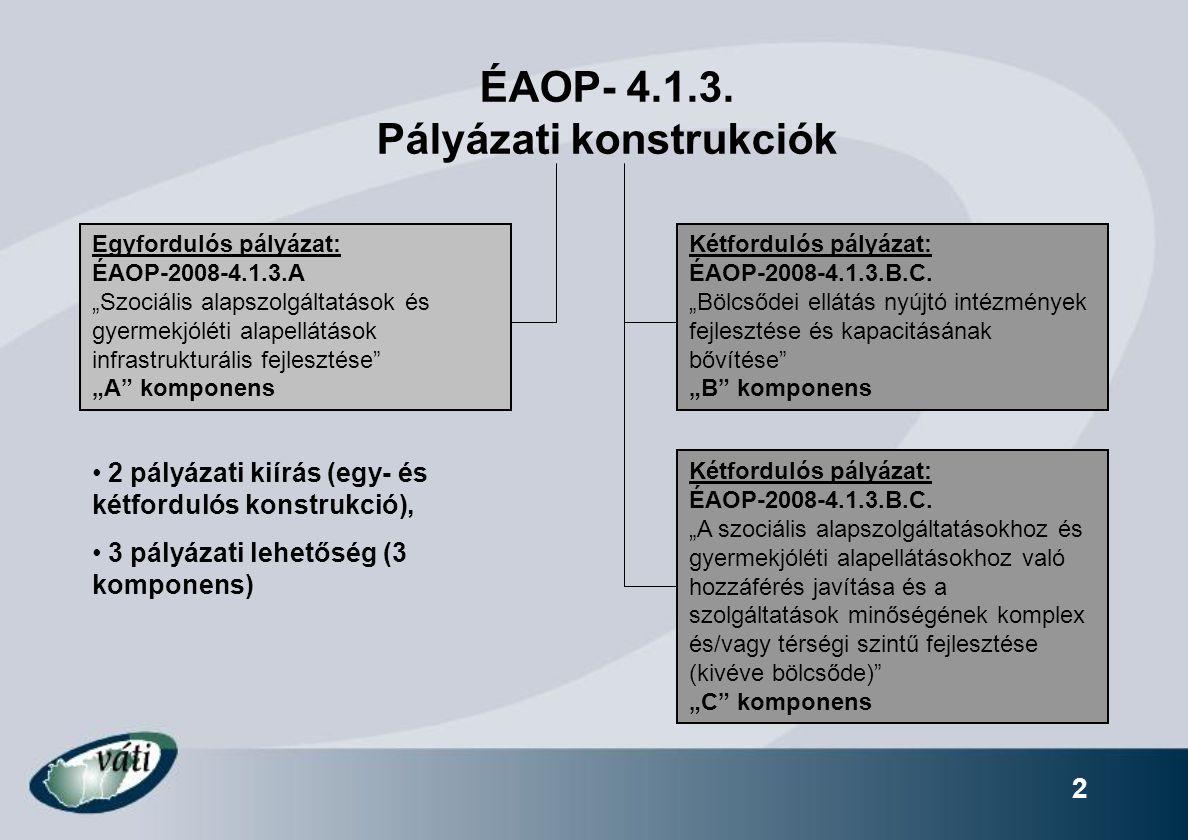 """13 """"C komponens Támogatható tevékenységek köre (C1) Kiegészítő tevékenységek:  Eszközbeszerzés (csak új eszköz) – gépjárműbeszerzés (lásd később az elszámolható költségeknél)  Külső tér kialakítása (telekhatáron belüli külső terek + parkoló-férőhelyek  ESZA-típusú tevékenység (max."""