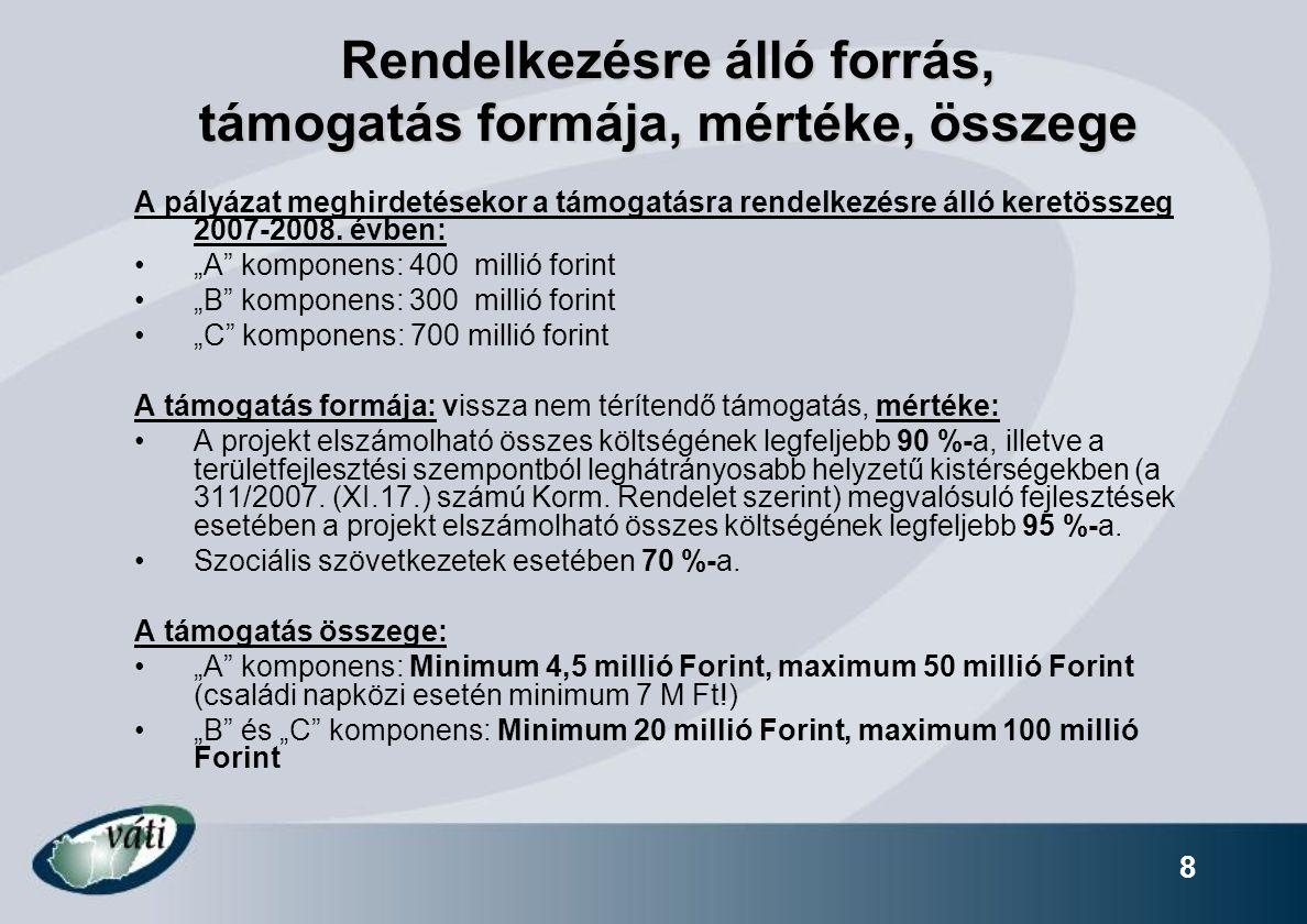 8 Rendelkezésre álló forrás, támogatás formája, mértéke, összege A pályázat meghirdetésekor a támogatásra rendelkezésre álló keretösszeg 2007-2008. év
