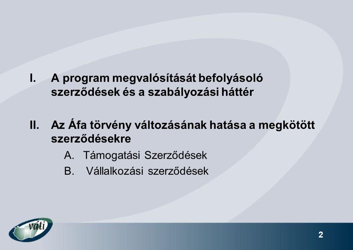 2 I.A program megvalósítását befolyásoló szerződések és a szabályozási háttér II.Az Áfa törvény változásának hatása a megkötött szerződésekre A.Támogatási Szerződések B.