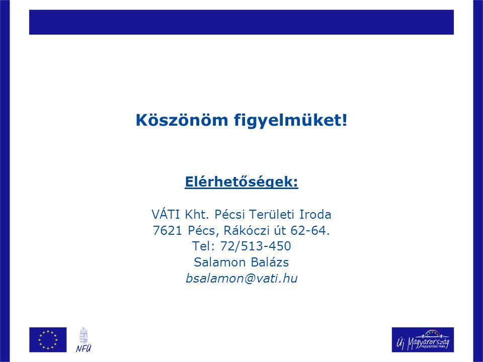Köszönöm figyelmüket.Elérhetőségek: VÁTI Kht. Pécsi Területi Iroda 7621 Pécs, Rákóczi út 62-64.