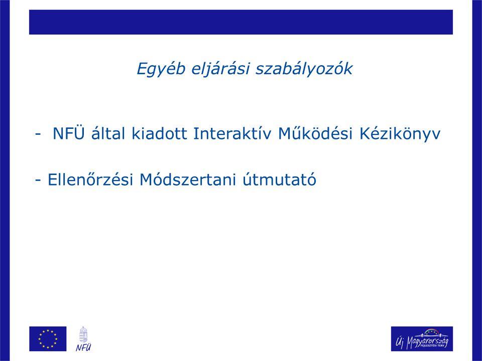 Egyéb eljárási szabályozók -NFÜ által kiadott Interaktív Működési Kézikönyv - Ellenőrzési Módszertani útmutató