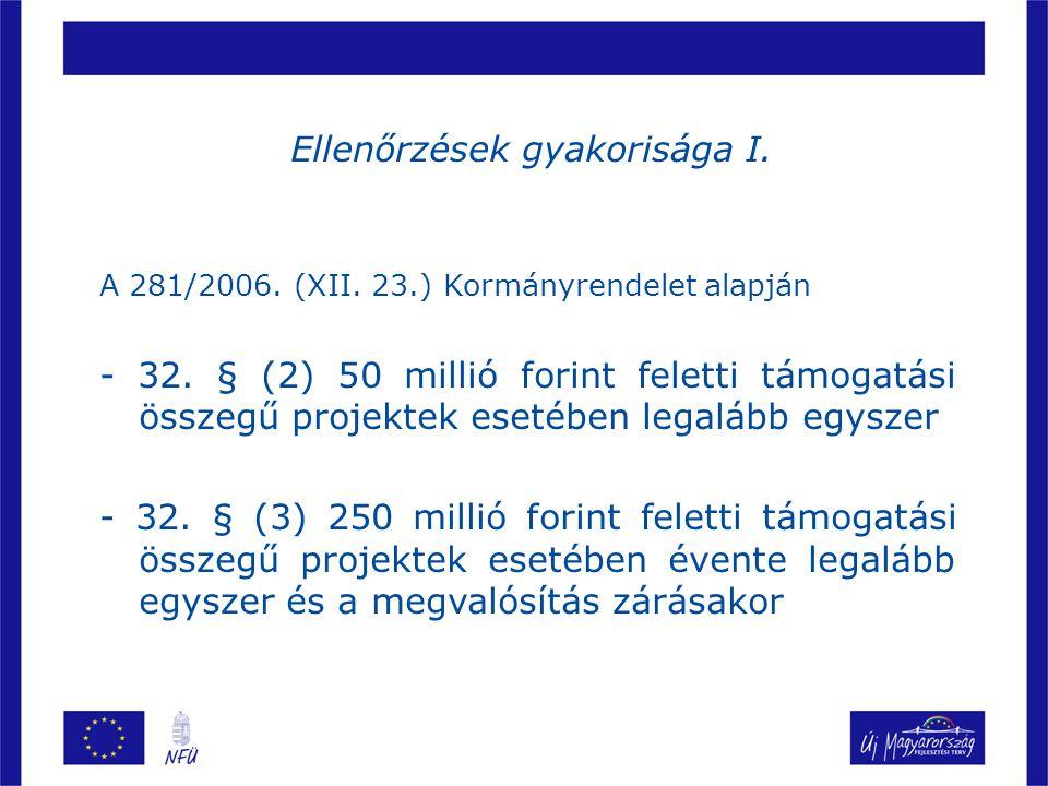 Ellenőrzések gyakorisága I.A 281/2006. (XII. 23.) Kormányrendelet alapján - 32.