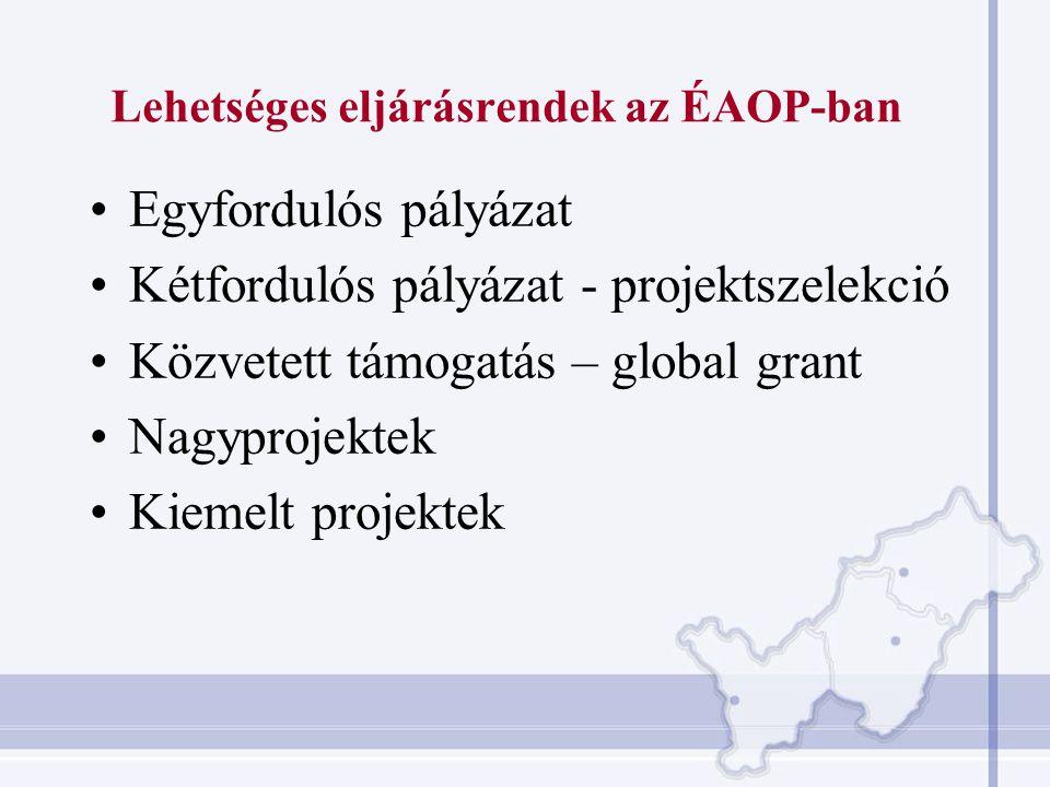 Lehetséges eljárásrendek az ÉAOP-ban Egyfordulós pályázat Kétfordulós pályázat - projektszelekció Közvetett támogatás – global grant Nagyprojektek Kiemelt projektek