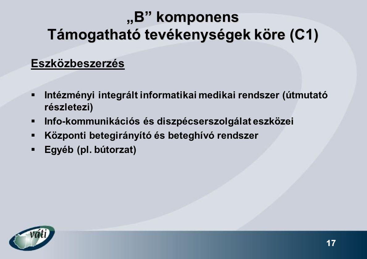 """""""B"""" komponens Támogatható tevékenységek köre (C1) Eszközbeszerzés  Intézményi integrált informatikai medikai rendszer (útmutató részletezi)  Info-ko"""