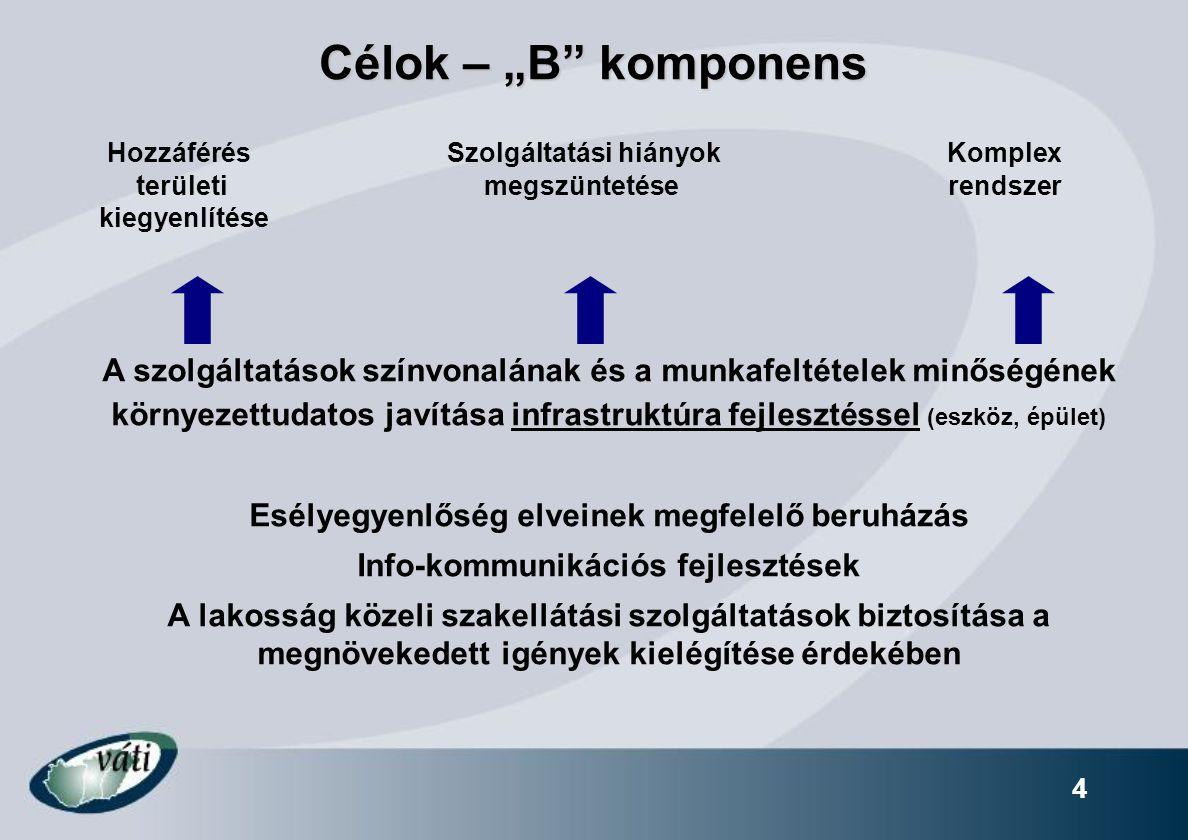 """Célok – """"B komponens 4 Hozzáférés Szolgáltatási hiányok Komplex területi megszüntetése rendszer kiegyenlítése A szolgáltatások színvonalának és a munkafeltételek minőségének környezettudatos javítása infrastruktúra fejlesztéssel (eszköz, épület) Esélyegyenlőség elveinek megfelelő beruházás Info-kommunikációs fejlesztések A lakosság közeli szakellátási szolgáltatások biztosítása a megnövekedett igények kielégítése érdekében"""