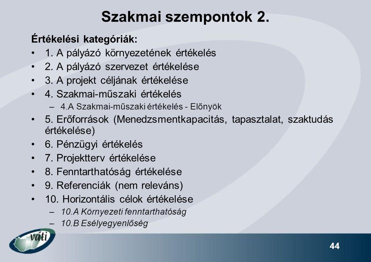 Szakmai szempontok 2. Értékelési kategóriák: 1. A pályázó környezetének értékelés 2. A pályázó szervezet értékelése 3. A projekt céljának értékelése 4