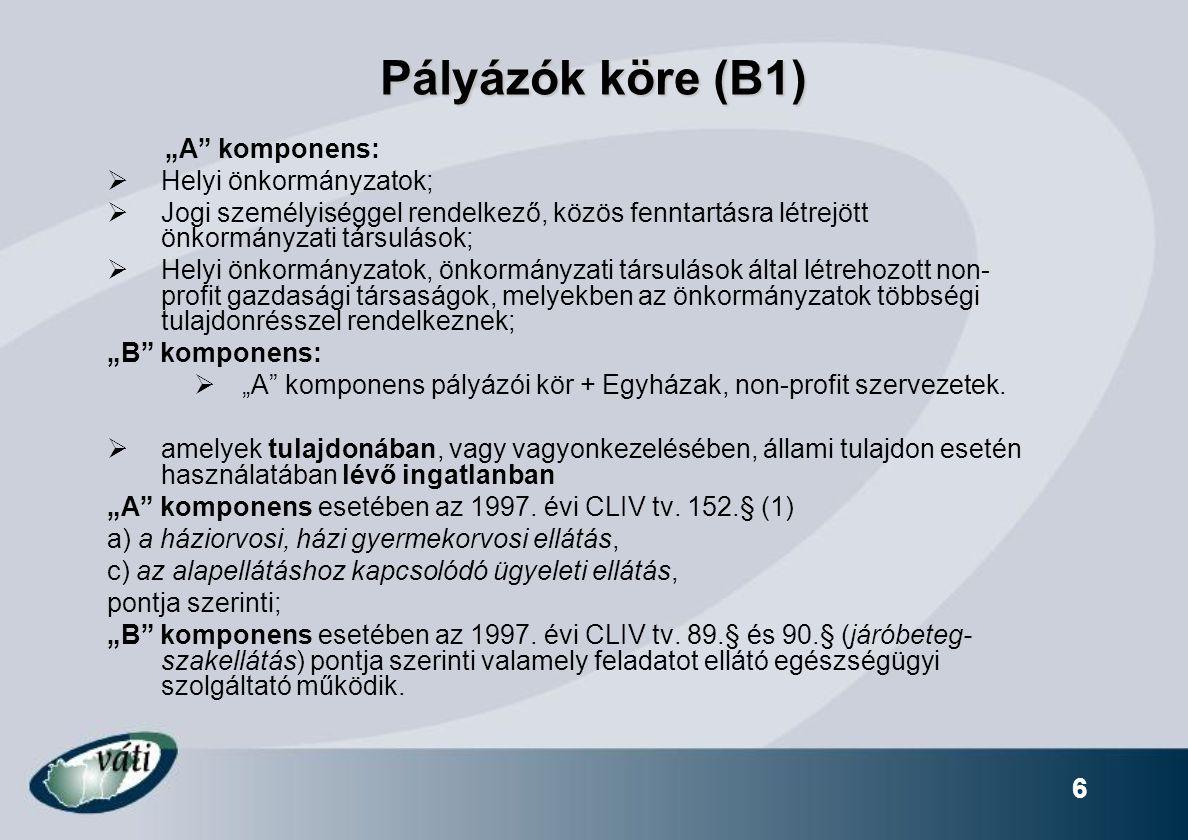 """Pályázók köre (B1) """"A komponens:  Helyi önkormányzatok;  Jogi személyiséggel rendelkező, közös fenntartásra létrejött önkormányzati társulások;  Helyi önkormányzatok, önkormányzati társulások által létrehozott non- profit gazdasági társaságok, melyekben az önkormányzatok többségi tulajdonrésszel rendelkeznek; """"B komponens:  """"A komponens pályázói kör + Egyházak, non-profit szervezetek."""