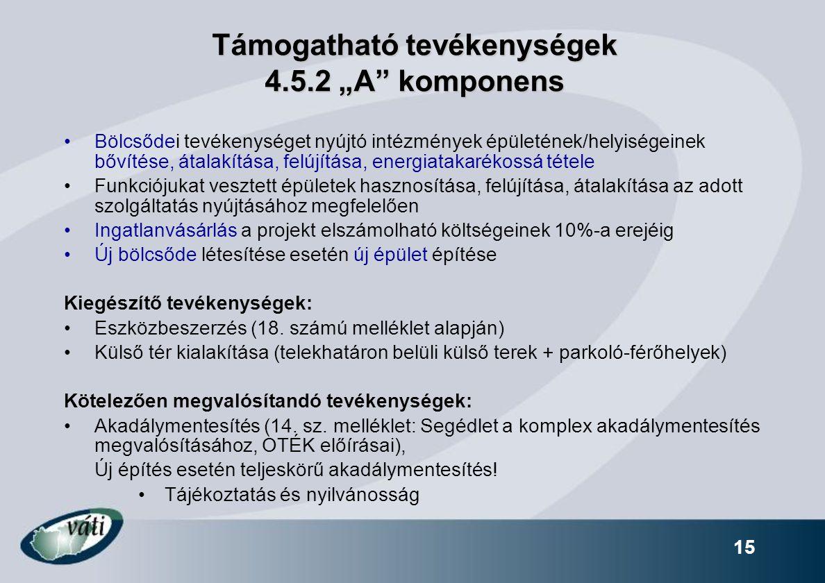 """15 Támogatható tevékenységek 4.5.2 """"A"""" komponens Bölcsődei tevékenységet nyújtó intézmények épületének/helyiségeinek bővítése, átalakítása, felújítása"""
