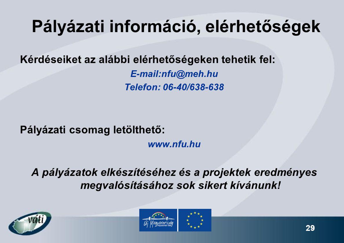 29 Pályázati információ, elérhetőségek Kérdéseiket az alábbi elérhetőségeken tehetik fel: E-mail:nfu@meh.hu Telefon: 06-40/638-638 Pályázati csomag le