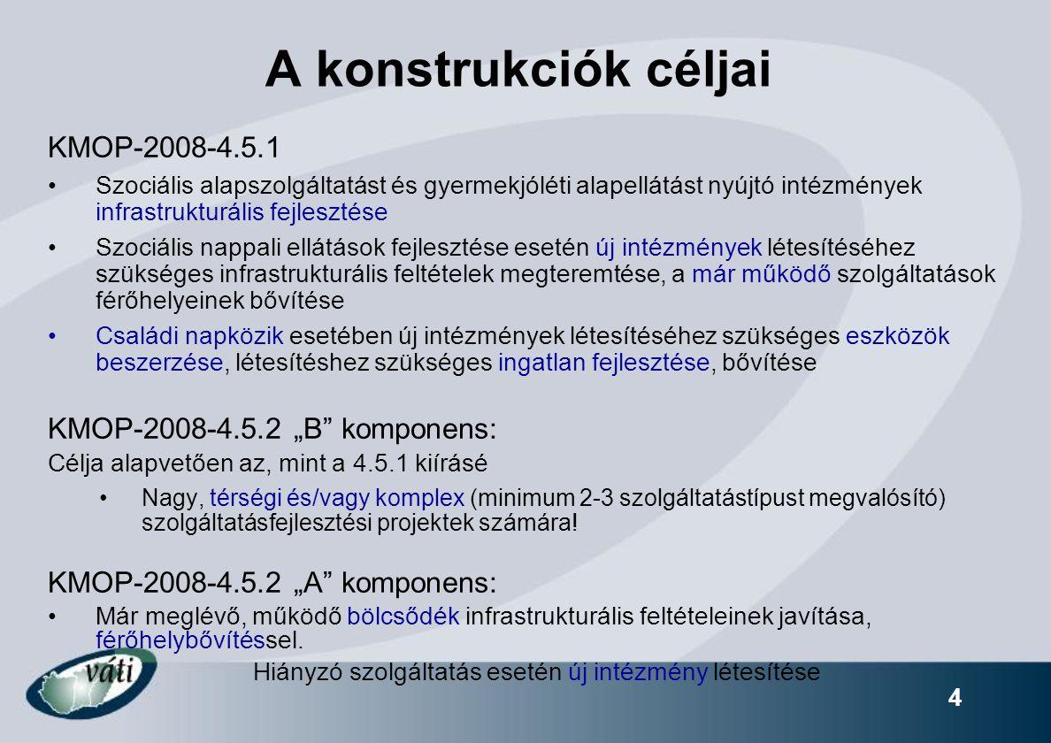 """4 A konstrukciók céljai KMOP-2008-4.5.1 Szociális alapszolgáltatást és gyermekjóléti alapellátást nyújtó intézmények infrastrukturális fejlesztése Szociális nappali ellátások fejlesztése esetén új intézmények létesítéséhez szükséges infrastrukturális feltételek megteremtése, a már működő szolgáltatások férőhelyeinek bővítése Családi napközik esetében új intézmények létesítéséhez szükséges eszközök beszerzése, létesítéshez szükséges ingatlan fejlesztése, bővítése KMOP-2008-4.5.2 """"B komponens: Célja alapvetően az, mint a 4.5.1 kiírásé Nagy, térségi és/vagy komplex (minimum 2-3 szolgáltatástípust megvalósító) szolgáltatásfejlesztési projektek számára."""