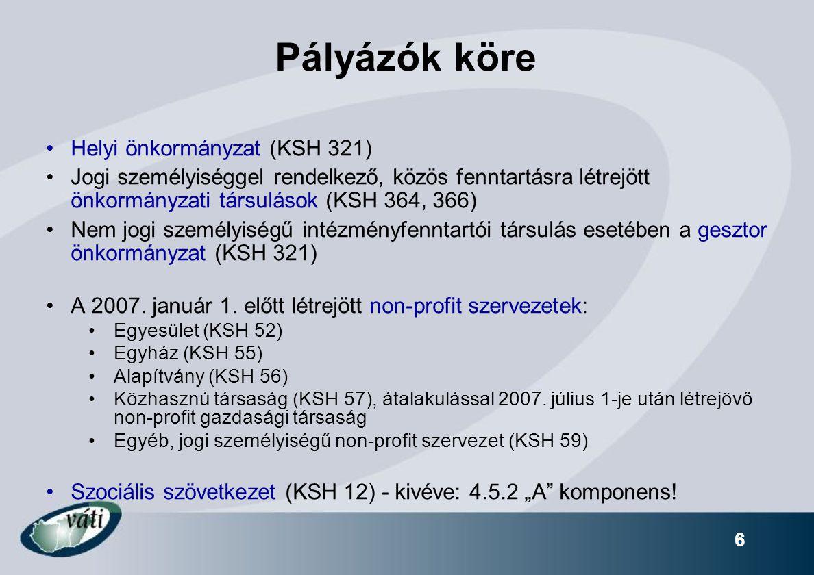 6 Pályázók köre Helyi önkormányzat (KSH 321) Jogi személyiséggel rendelkező, közös fenntartásra létrejött önkormányzati társulások (KSH 364, 366) Nem