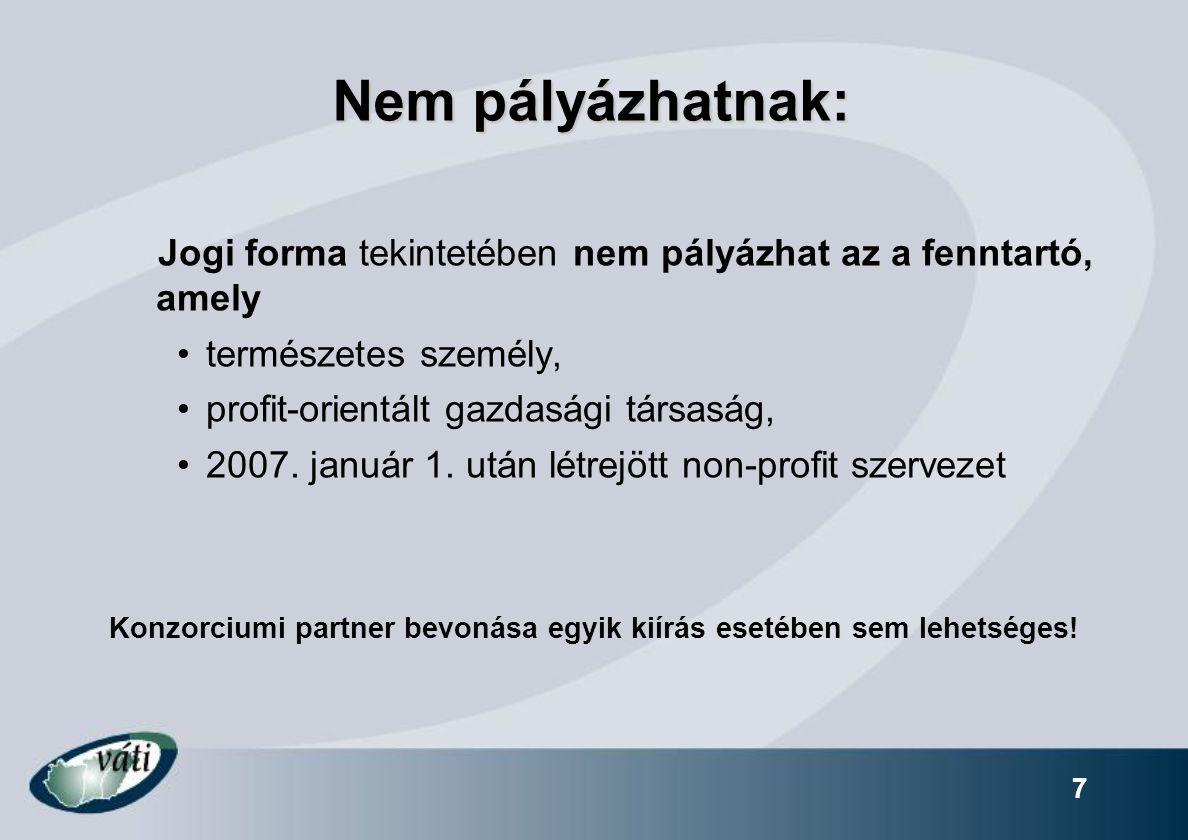 7 Nem pályázhatnak: Jogi forma tekintetében nem pályázhat az a fenntartó, amely természetes személy, profit-orientált gazdasági társaság, 2007.