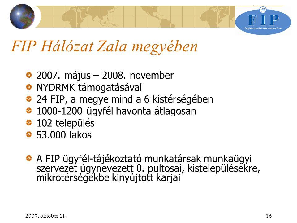 2007. október 11.16 FIP Hálózat Zala megyében 2007.