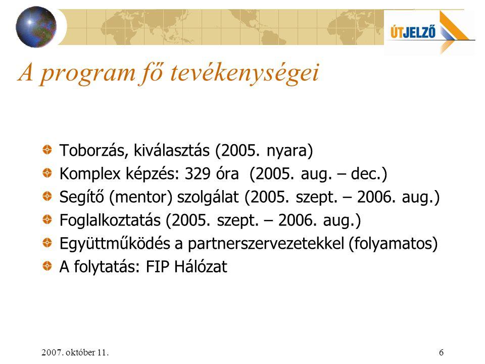 2007. október 11.6 A program fő tevékenységei Toborzás, kiválasztás (2005.
