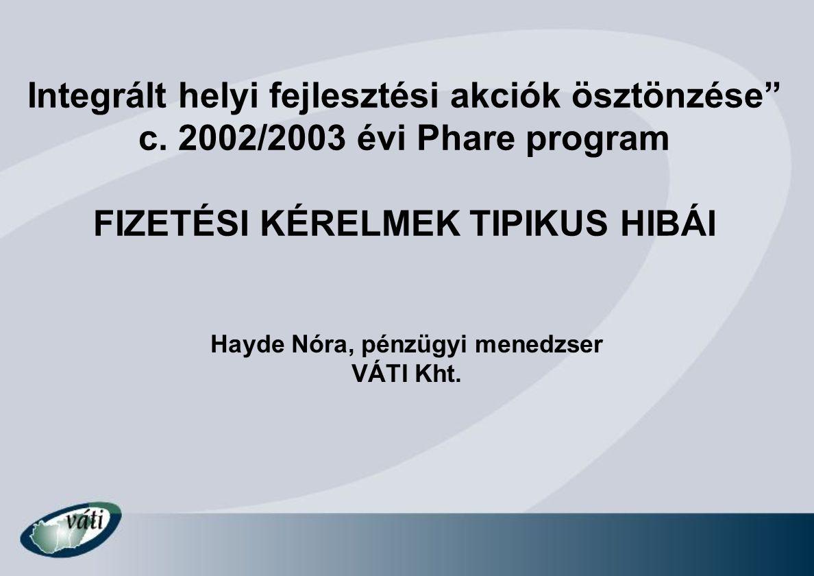 """Integrált helyi fejlesztési akciók ösztönzése"""" c. 2002/2003 évi Phare program FIZETÉSI KÉRELMEK TIPIKUS HIBÁI Hayde Nóra, pénzügyi menedzser VÁTI Kht."""