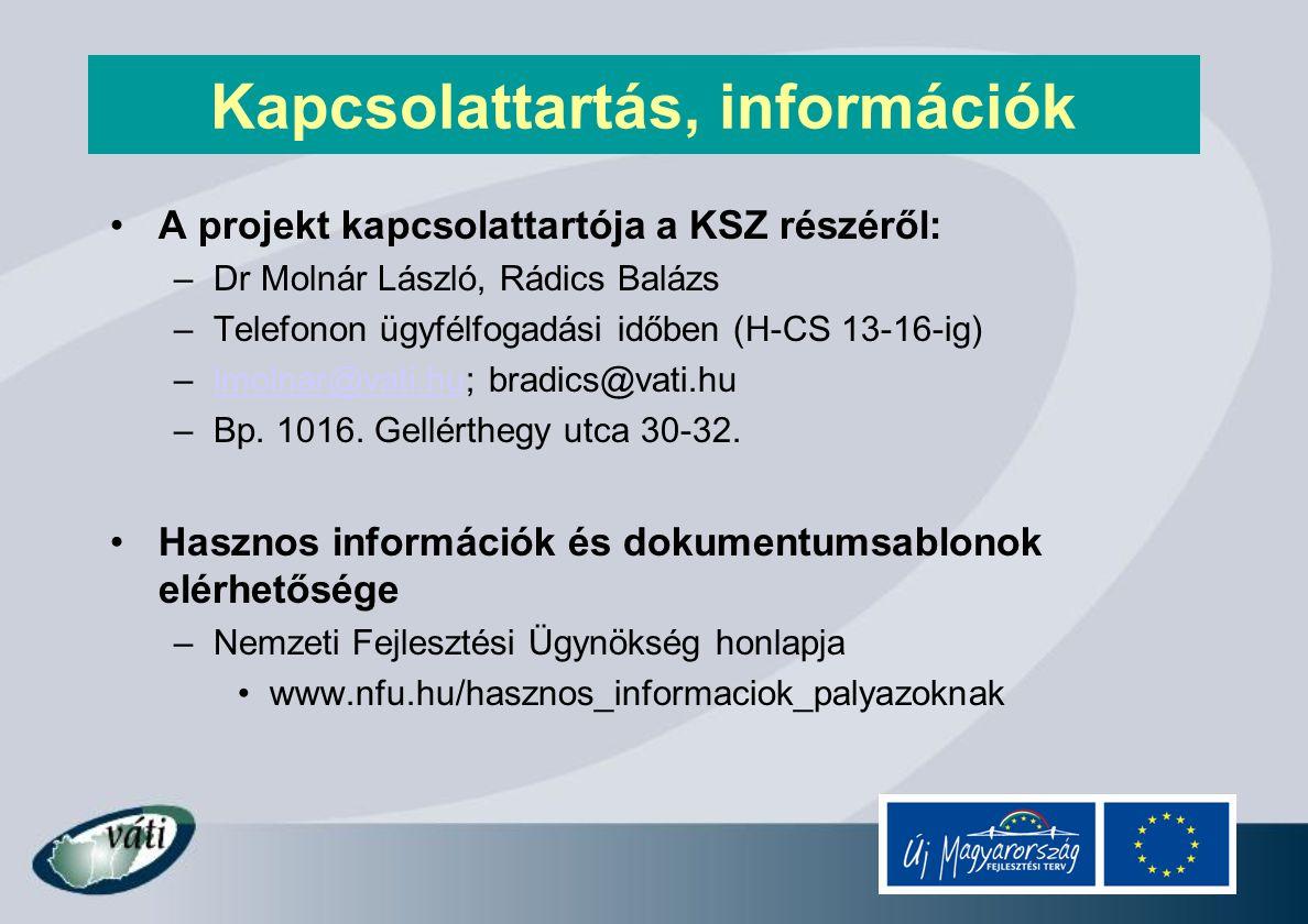 Kapcsolattartás, információk A projekt kapcsolattartója a KSZ részéről: –Dr Molnár László, Rádics Balázs –Telefonon ügyfélfogadási időben (H-CS 13-16-ig) –lmolnar@vati.hu; bradics@vati.hulmolnar@vati.hu –Bp.