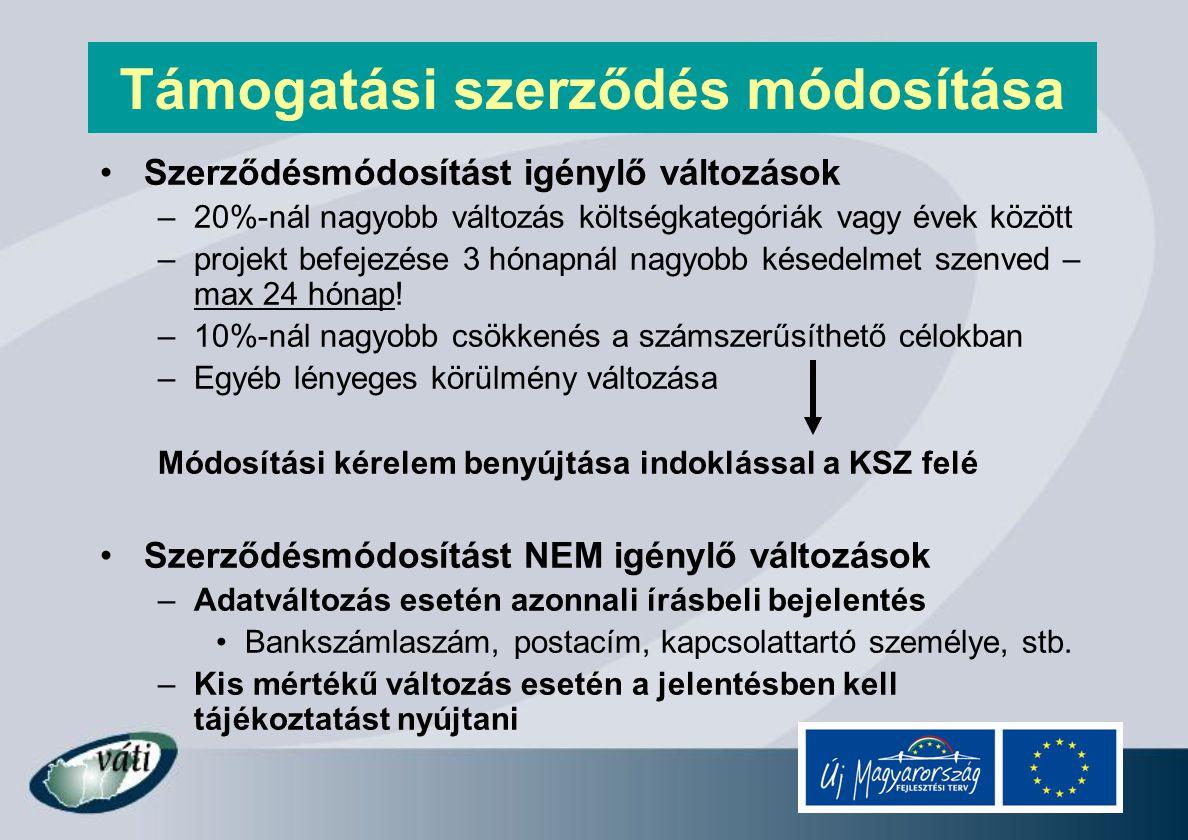 Beszámolási kötelezettség - PEJ, ZPEJ, PFEJ Projekt előrehaladási jelentés (PEJ) –TSZ megkötésétől számítva 6 havonta (határidő: 10 munkanap) –12 hónapnál rövidebb projektnél csak zárójelentést kell benyújtani –Beszámolás a projekt előrehaladásának alakulásáról –Tájékoztatás kismértékű változásokról (költség, késedelem, stb.) –Alátámasztó dokumentumok (Fényképek a beruházásról, közbeszerzési dokumentumok, tájékoztatás és nyilvánosság) Zárójelentés (ZPEJ) –Projekt megvalósulása után, utolsó kifizetési igénnyel együtt Projekt fenntartási jelentés (PFEJ) –Fenntartási időszak (5 év) alatt évente egyszer