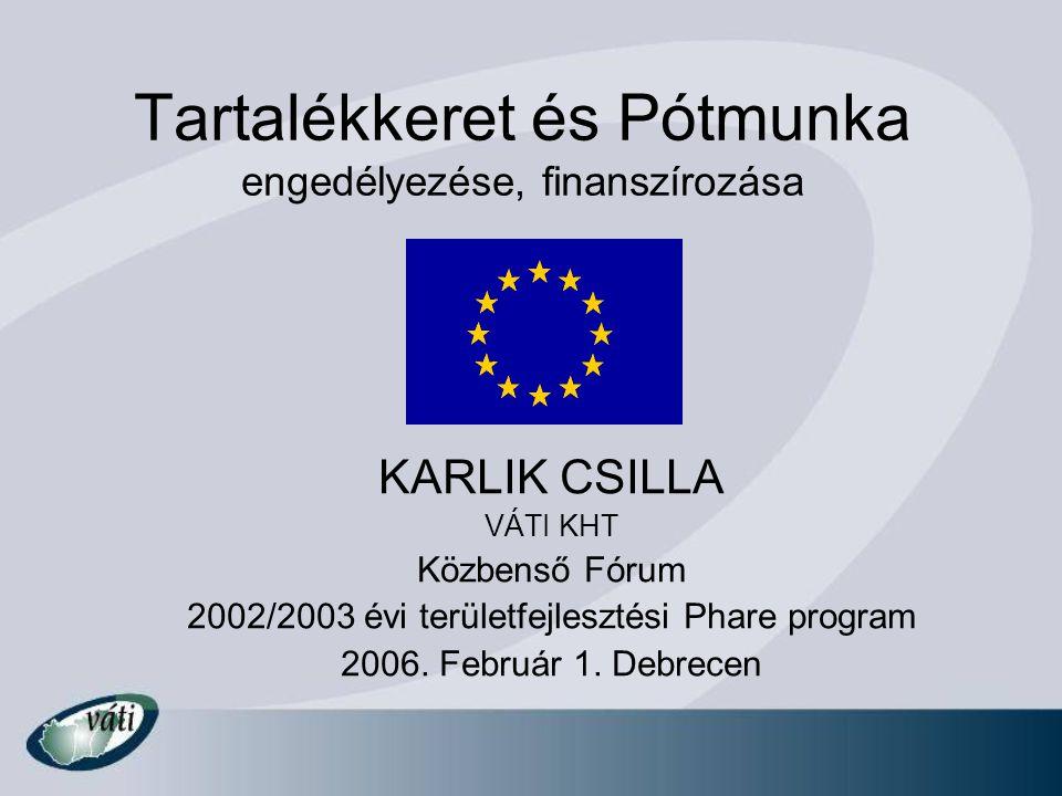 Tartalékkeret és Pótmunka engedélyezése, finanszírozása KARLIK CSILLA VÁTI KHT Közbenső Fórum 2002/2003 évi területfejlesztési Phare program 2006. Feb