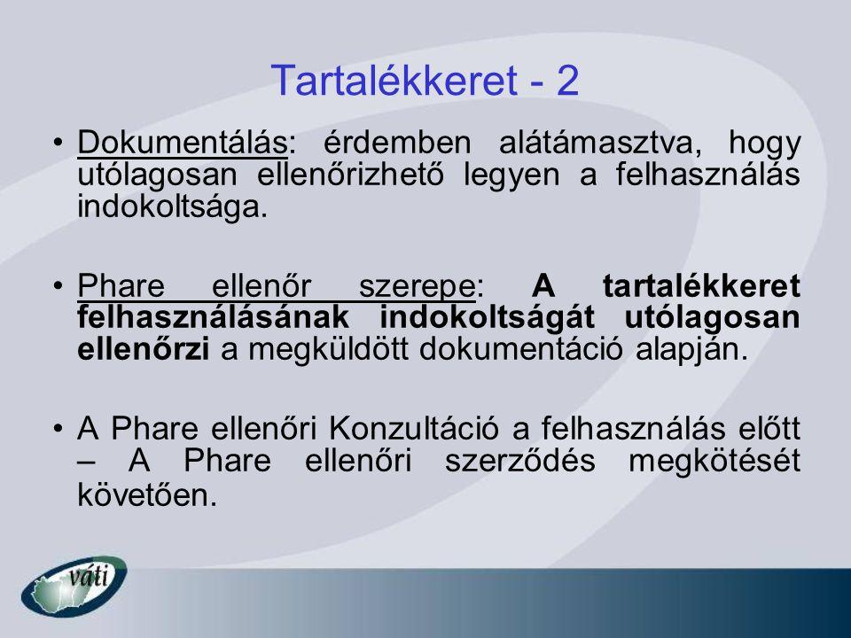 Tartalékkeret - 2 Dokumentálás: érdemben alátámasztva, hogy utólagosan ellenőrizhető legyen a felhasználás indokoltsága. Phare ellenőr szerepe: A tart