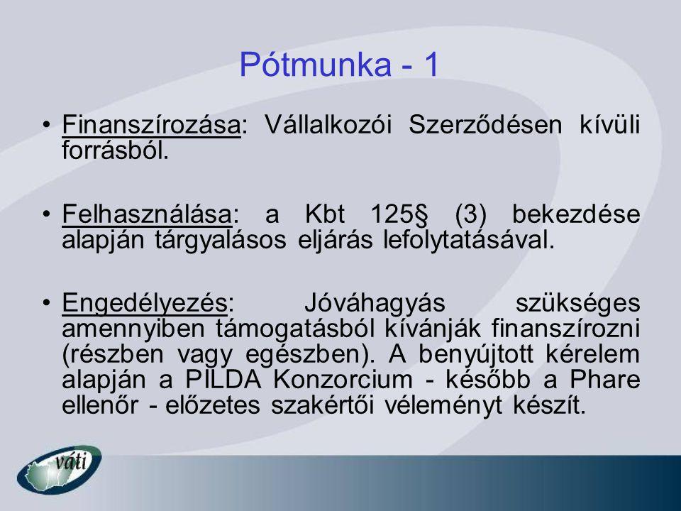 Pótmunka - 1 Finanszírozása: Vállalkozói Szerződésen kívüli forrásból. Felhasználása: a Kbt 125§ (3) bekezdése alapján tárgyalásos eljárás lefolytatás