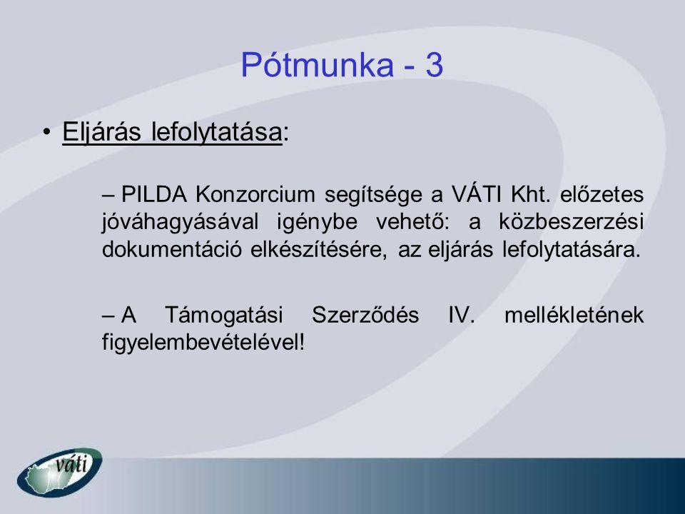 Pótmunka - 3 Eljárás lefolytatása: – PILDA Konzorcium segítsége a VÁTI Kht. előzetes jóváhagyásával igénybe vehető: a közbeszerzési dokumentáció elkés