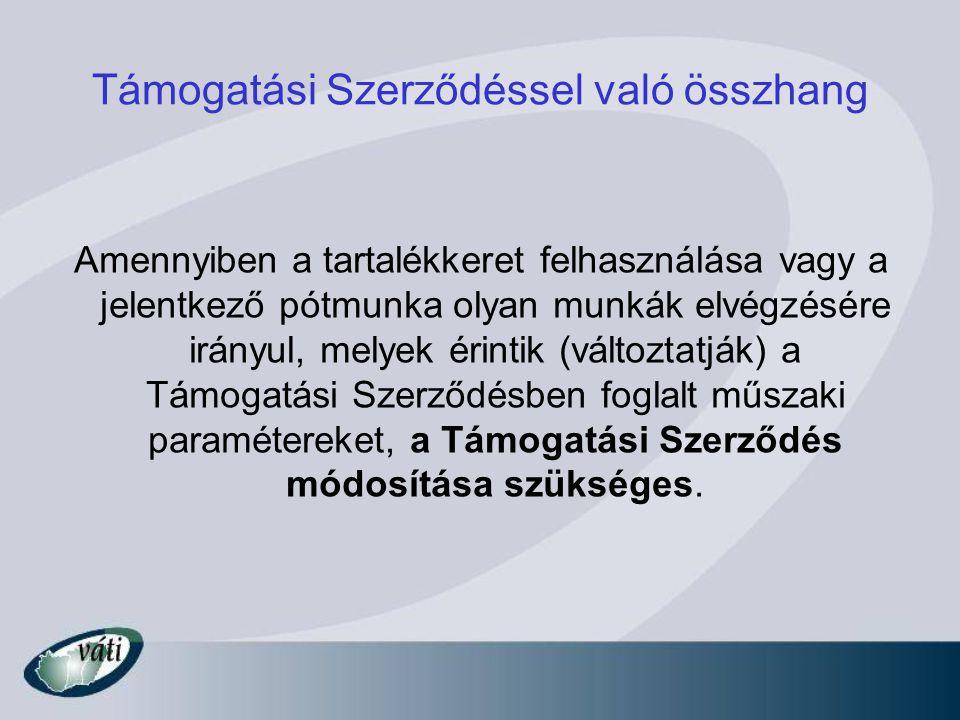Támogatási Szerződéssel való összhang Amennyiben a tartalékkeret felhasználása vagy a jelentkező pótmunka olyan munkák elvégzésére irányul, melyek érintik (változtatják) a Támogatási Szerződésben foglalt műszaki paramétereket, a Támogatási Szerződés módosítása szükséges.
