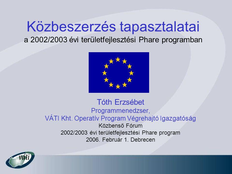 Közbeszerzés tapasztalatai a 2002/2003 évi területfejlesztési Phare programban Tóth Erzsébet Programmenedzser, VÁTI Kht. Operatív Program Végrehajtó I