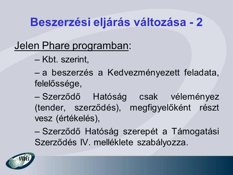 Beszerzési eljárás változása - 2 Jelen Phare programban: – Kbt. szerint, – a beszerzés a Kedvezményezett feladata, felelőssége, – Szerződő Hatóság csa