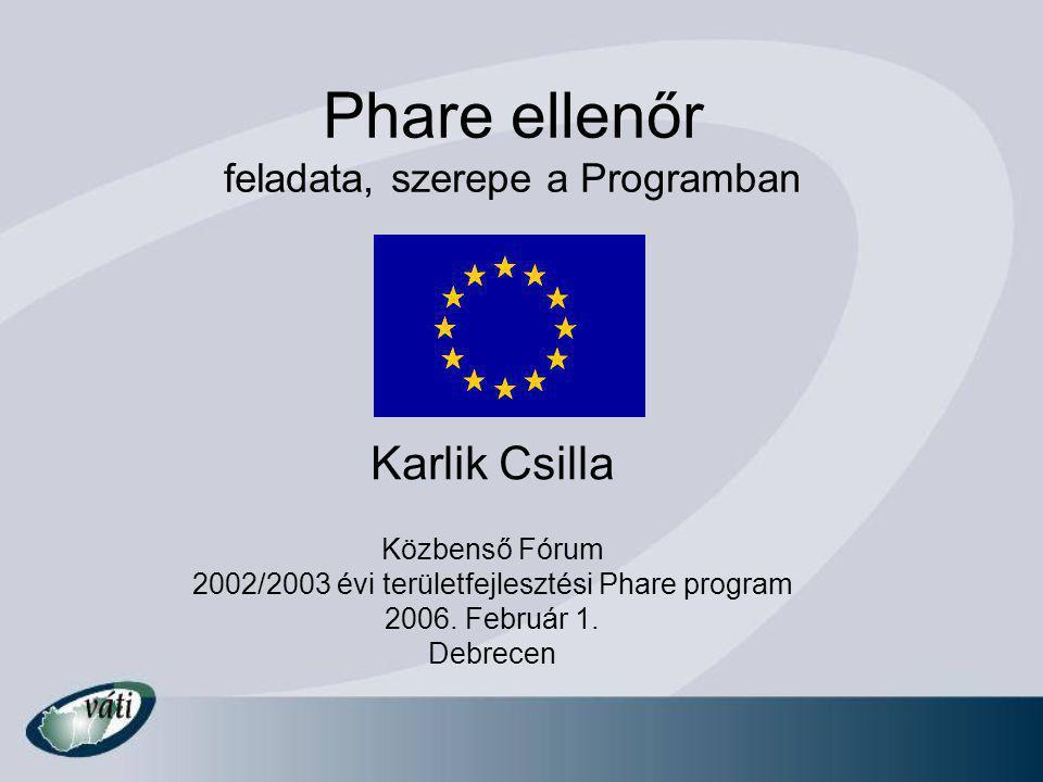 Phare ellenőr feladata, szerepe a Programban Karlik Csilla Közbenső Fórum 2002/2003 évi területfejlesztési Phare program 2006.