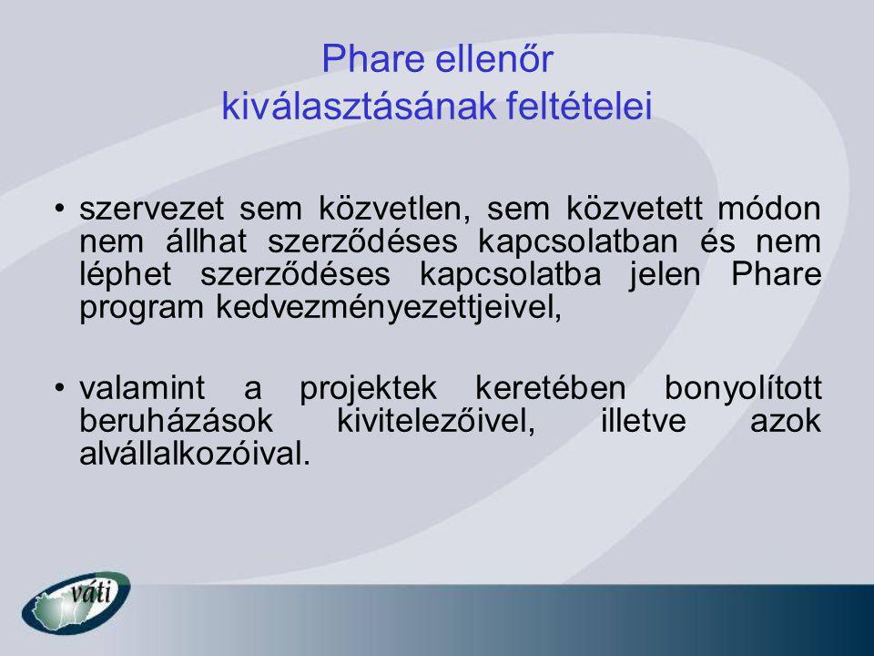 Phare ellenőr kiválasztásának feltételei szervezet sem közvetlen, sem közvetett módon nem állhat szerződéses kapcsolatban és nem léphet szerződéses kapcsolatba jelen Phare program kedvezményezettjeivel, valamint a projektek keretében bonyolított beruházások kivitelezőivel, illetve azok alvállalkozóival.