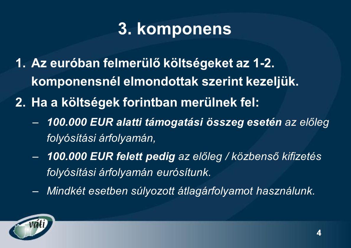 4 3.komponens 1.Az euróban felmerülő költségeket az 1-2.