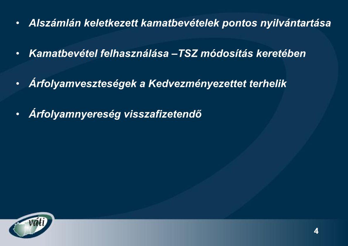 4 Alszámlán keletkezett kamatbevételek pontos nyilvántartása Kamatbevétel felhasználása –TSZ módosítás keretében Árfolyamveszteségek a Kedvezményezettet terhelik Árfolyamnyereség visszafizetendő