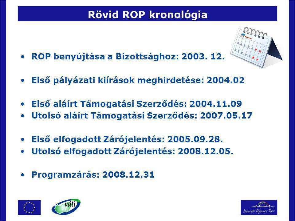 Rövid ROP kronológia ROP benyújtása a Bizottsághoz: 2003. 12. Első pályázati kiírások meghirdetése: 2004.02 Első aláírt Támogatási Szerződés: 2004.11.