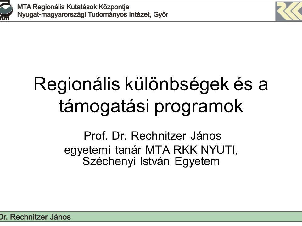 A területi folyamatok sajátosságai Regionális különbségek nem csökkentek ellenkezőleg nőttek Felismerhető az autópálya építés fejlesztő hatása (külföldi tőke terjedése: Heves, Borsod, Csongrád, Hajdú; térségi aktivizáció) A foglalkoztatási helyzet jelentősen nem változott, a szerkezet stabilizálódik Migrációs és a szuburbanizáció folytatódik; Budapest és nagyvárosok körül Kistelepülések helyzete romlik, kisvárosok funkciói hiányosak, nem képesek a kistérséget szervezni Akadozó, megtorpanó regionalizáció, törvények fogságában Változatlanok a területi szerkezet ellentmondásai, sőt erősebbek: –Északnyugat, Budapest elkülönülése a többi országrésztől –Településhálózatban elfoglalt helyzet még meghatározóbb (nagyvárosok és agglomerációjuk, izmosodó középvárosok) –Látványos leszakadása a elmaradott térségeknek és a központ hiányos (funkció szegény) térségeknek
