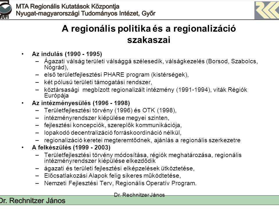 Dr. Rechnitzer János A regionális politika és a regionalizáció szakaszai Az indulás (1990 - 1995) –Ágazati válság területi válsággá szélesedik, válság