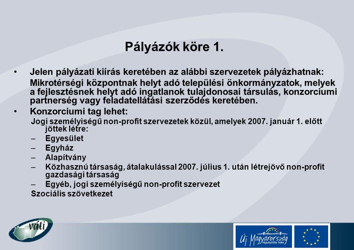 köre 1. Pályázók köre 1. Jelen pályázati kiírás keretében az alábbi szervezetek pályázhatnak: Mikrotérségi központnak helyt adó települési önkormányza