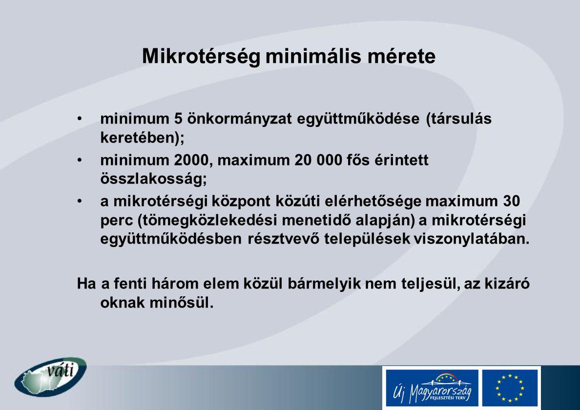 Mikrotérség minimális mérete minimum 5 önkormányzat együttműködése (társulás keretében); minimum 2000, maximum 20 000 fős érintett összlakosság; a mik