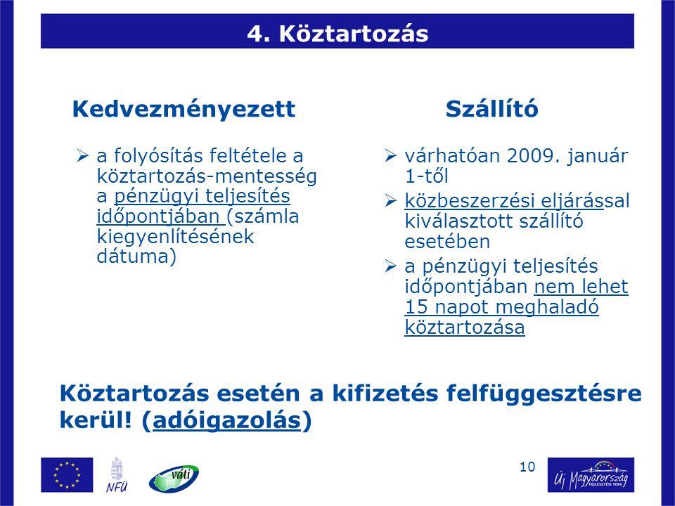10 4. Köztartozás Kedvezményezett  a folyósítás feltétele a köztartozás-mentesség a pénzügyi teljesítés időpontjában (számla kiegyenlítésének dátuma)